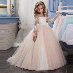 Boutique Wholesale Kids Girls Dress Wedding Party Baby Long Sleeve Ruffles Tulle Bridesmaid Dresses