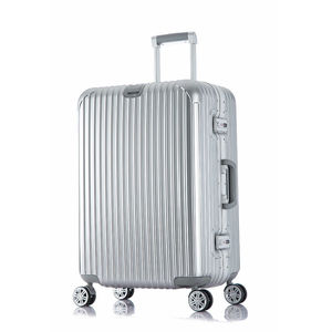 Fashionable Eminent Aluminum Hard Shell Silver Tone Trolley Travel Luggage