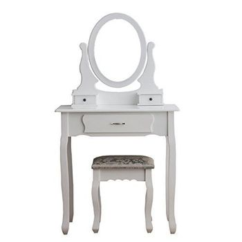 Small White Dressing Table Set Mirror Stool Vintage Makeup Bedroom Dresser