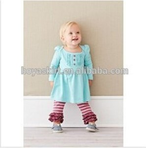 2015 Fall Winter pink blue boutique baby girl ruffle remake printed pajamas caters stripe outfit
