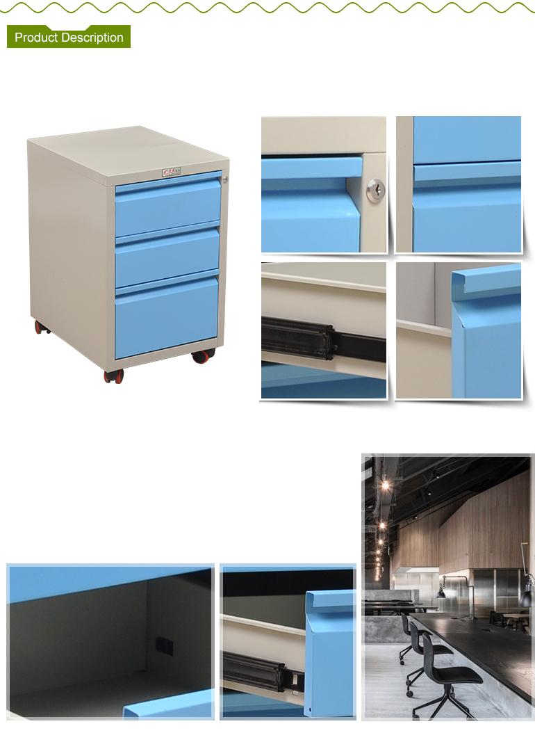 Modern Design 3 Drawers Mobile Metal Under Table Cabinet
