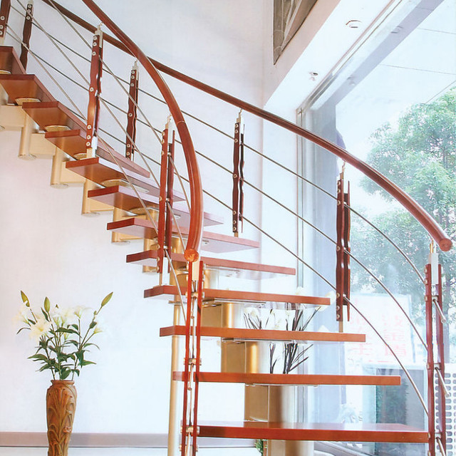 Spiral Staircase Wood Stair Treadboard Construction Builder Remodeling  House Supplier 002