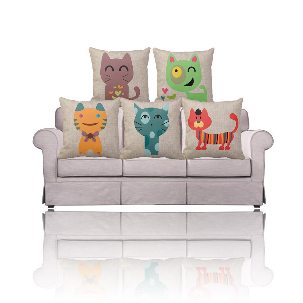 Buy Ikea Decorative Cat Pillows Coral Green Orange Cartoon Animal