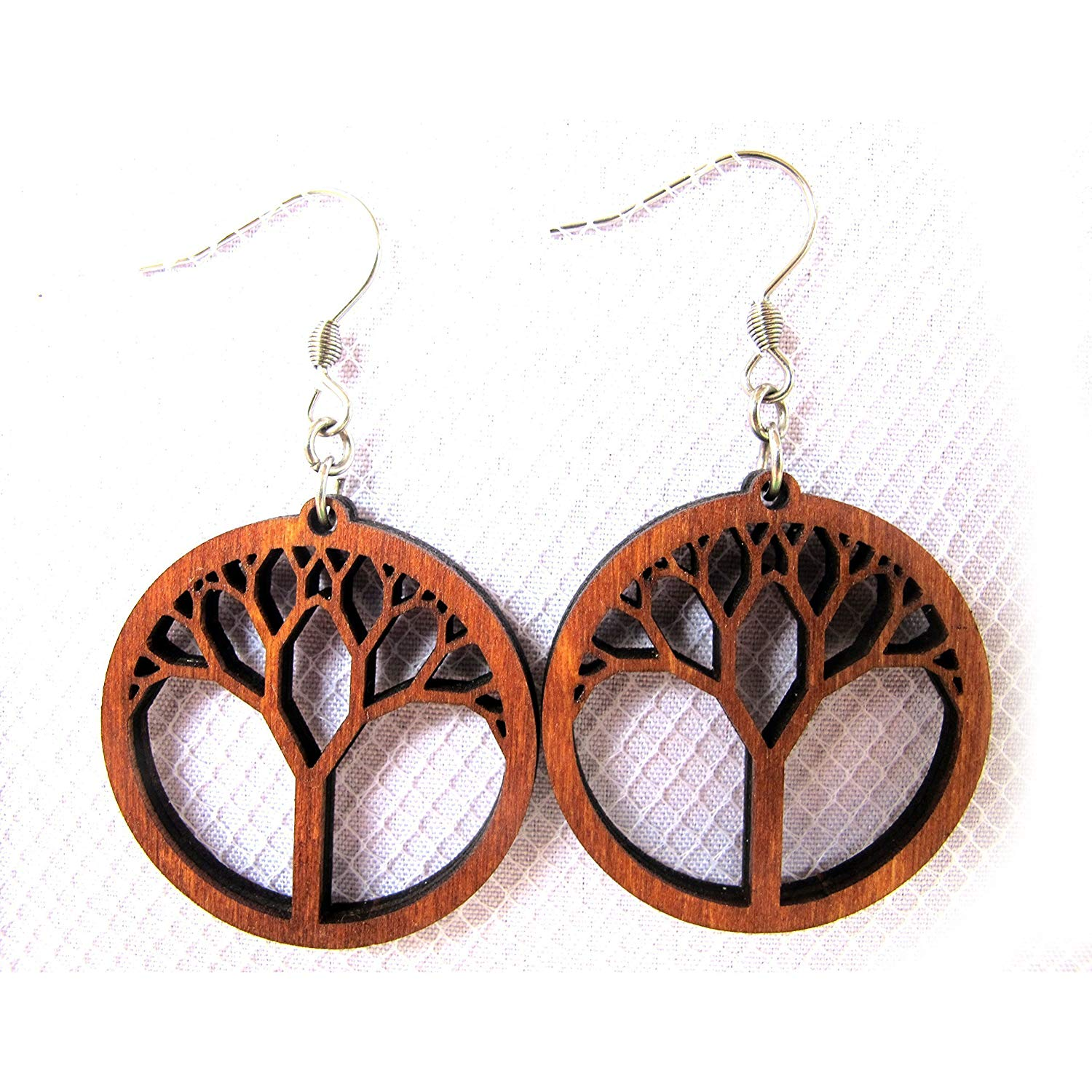 "Wooden Earrings""Tree of Life"", Laser Cut Hoop earrings with hypoallergenic ear wire, Yoga Spiritual jewelry"