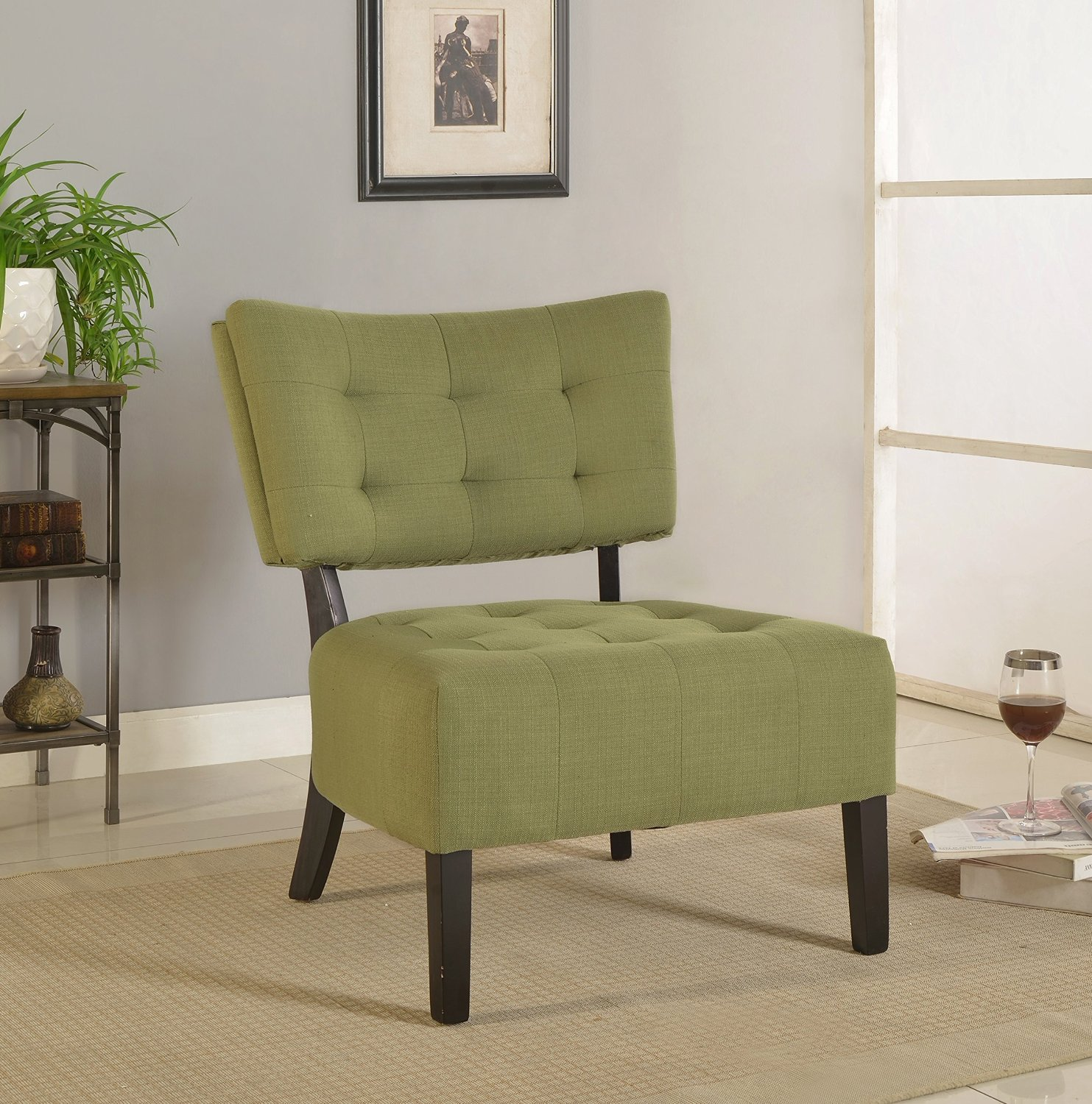 Get Quotations · Furniture Of America Allio Contemporary Upholstered Accent  Chair, Green