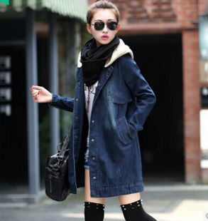 D51498J 2014 autumn and winter denim hooded women's long coat