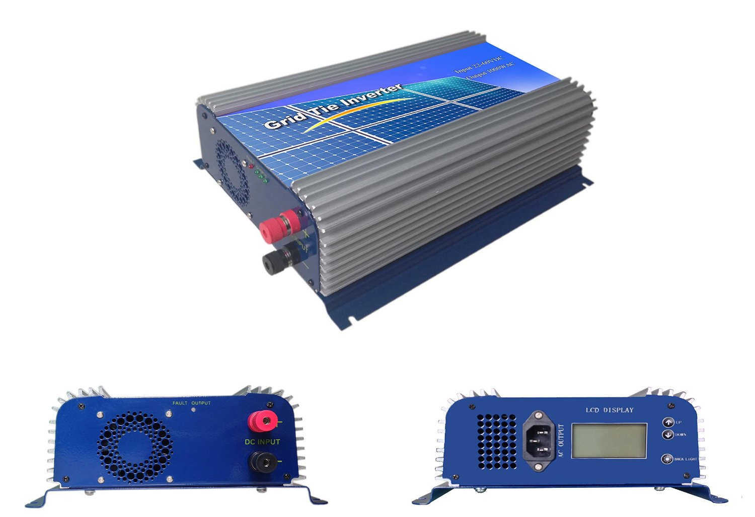 Decen 1500w High Efficiency LCD Display on Grid Tie Inverter Output Pure Sine Wave, 45-90vdc,110vac/ 220vac,60hz for Home Solar System