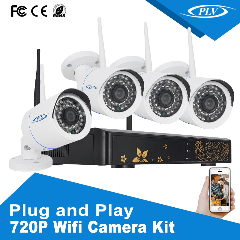 1.0 megapixel hd 4 ch outdoor wifi ip camera system infrared p2p surveillance wifi nvr kit