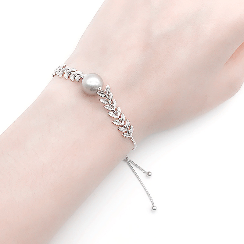 Latest Fashion New 925 Silver Design Adjule Leaves Pearl Women Bracelet Bracelets Earl