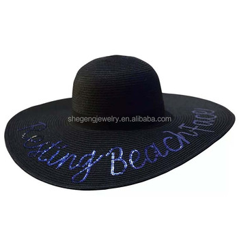 70af491c94 Out Of Office Floppy Hat Sunny Embroidered Large Straw Sun Hat - Buy ...
