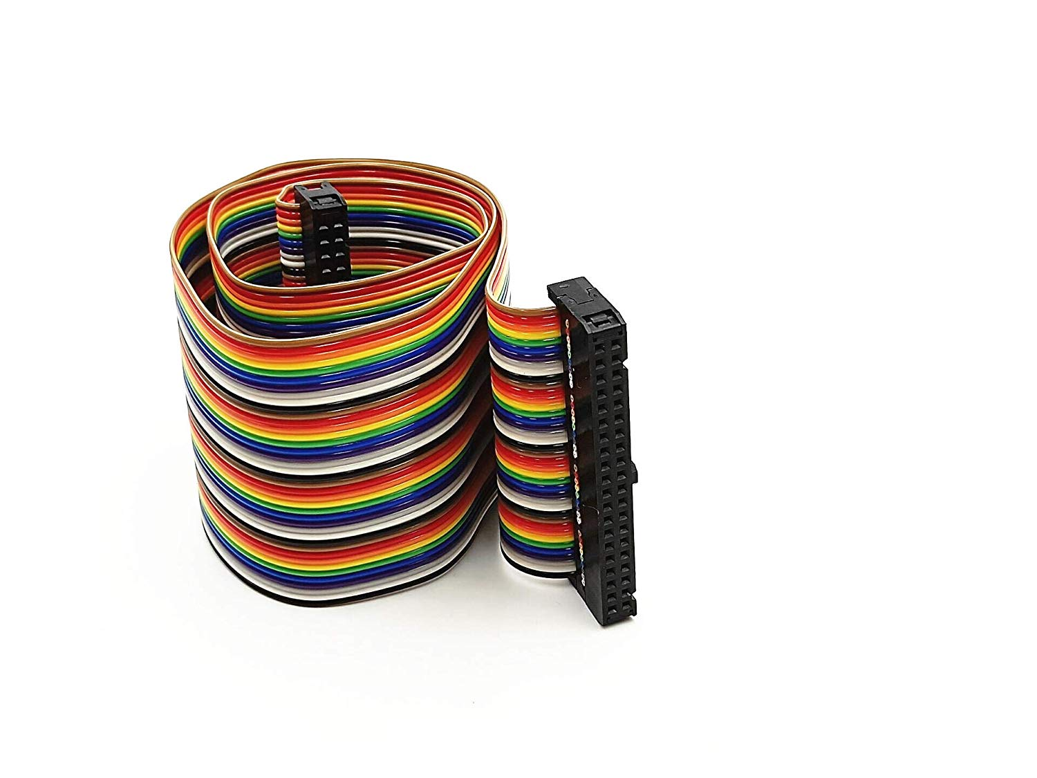 BLS 2.54mm Pitch 40 Pin 40 Way F/F Connector IDC Flat Rainbow Ribbon Cable 1.7ft