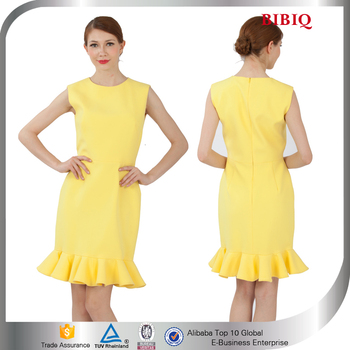 Semi Formal Office Dresses For Women Bodycon Yellow Cheap Mermaid