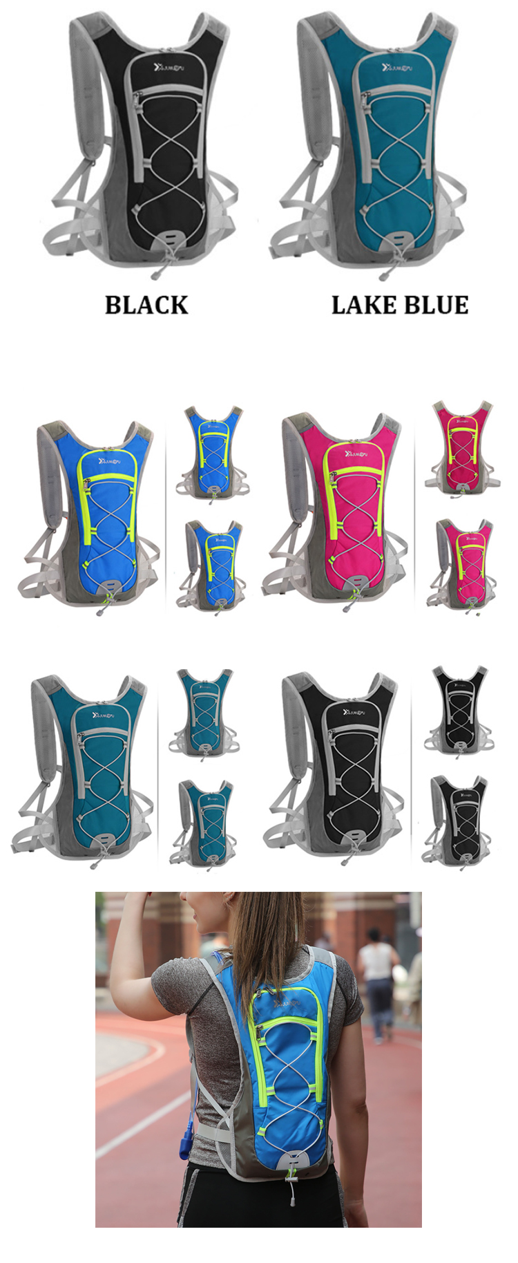 Osgoodway 2L 0utdoor Nylon Hydration Backpack Water Backpack Hydration Pack for Hiking cycling
