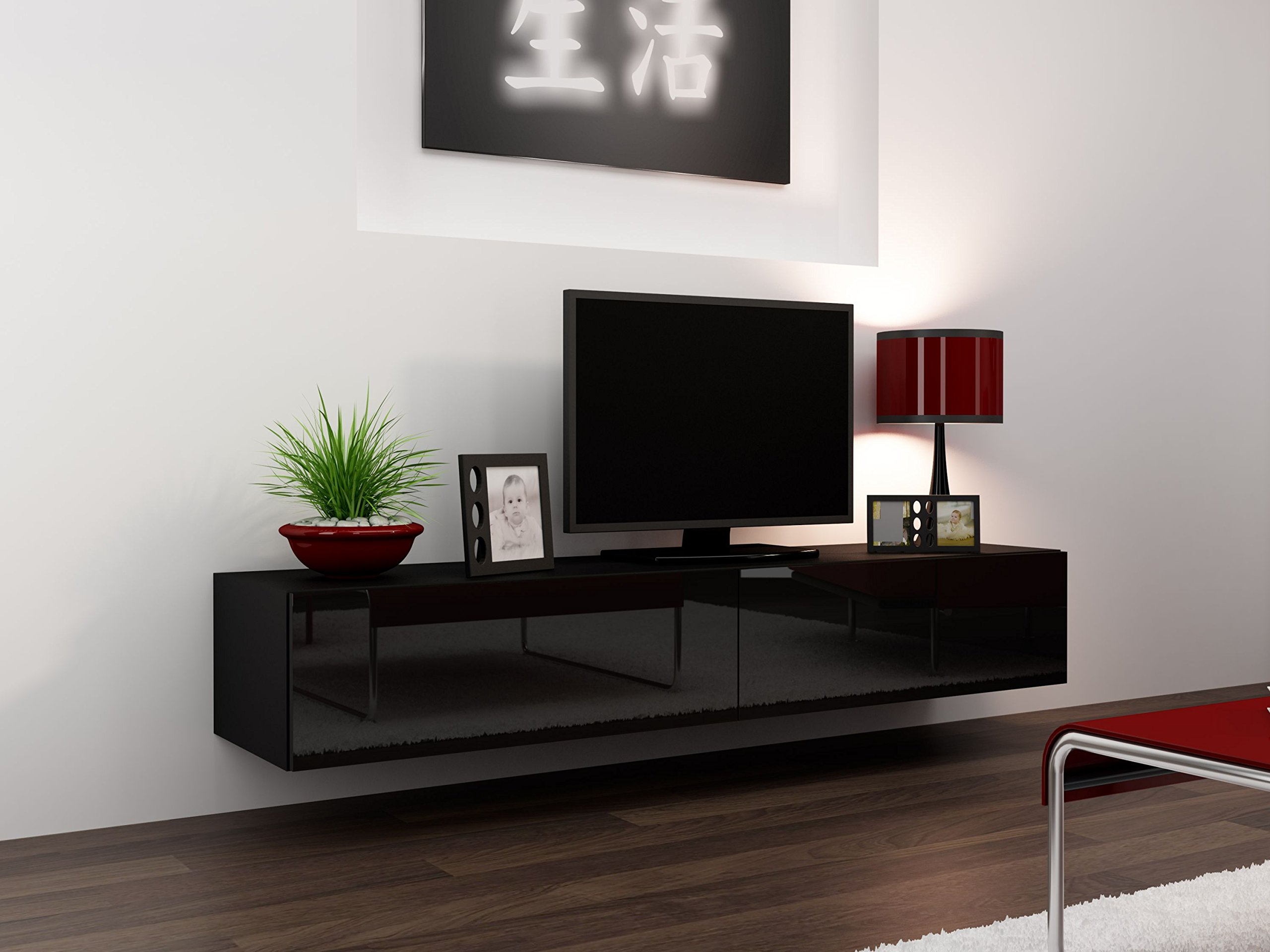 """Concept Muebles Seattle TV Stand 180 – TV Cabinet with High Gloss Fronts - Hanging TV Console for up to 80"""" TVs (Black)"""