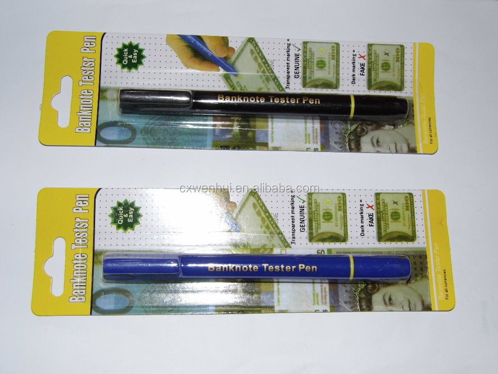 2 IN 1 Counterfeit Bank Note Tester Money Detector Pen with Ball-point Pen