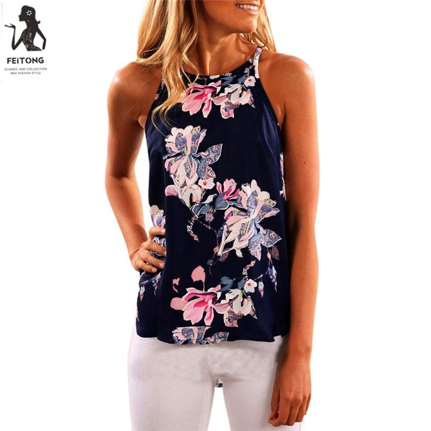 Dressin Workout Tank Tops For Women, Ladies Sexy Sleeveless Flower Print Shirt Blouse Tops Fashion Summer Vest
