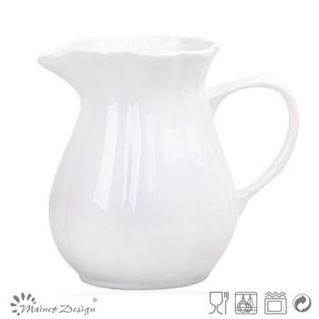 Delicate White Color Emboss Crockery Stoneware Houseware Ceramic Pitcher