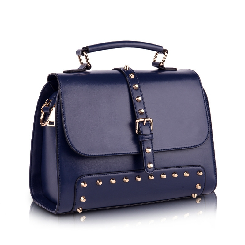 1697f10001c2 Get Quotations · Women Fashion Rivet Real Leather Handbags Genuine Leather  Shoulder Message bags For Lady Vintage Fashion Crossbody