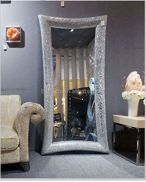 Free Stand Floor Full Length Mosaic Frame Mirror,Gold And Black ...