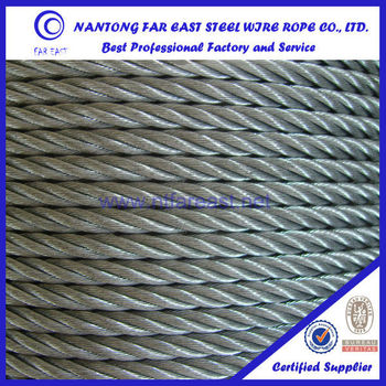 Nantong Ips 6x19 18mm Fibre Core Wire Core Galvanized Steel Cable ...