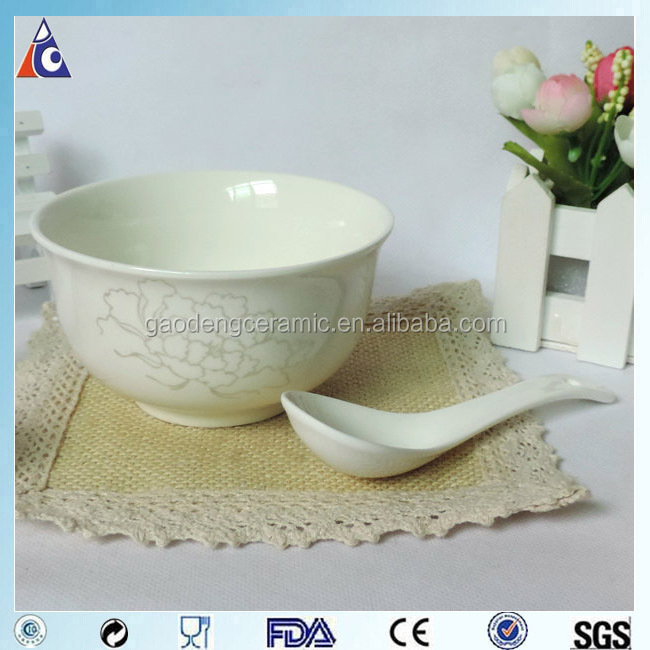 Household Cheap Ceramic Cereal Bowl With Flower Logo