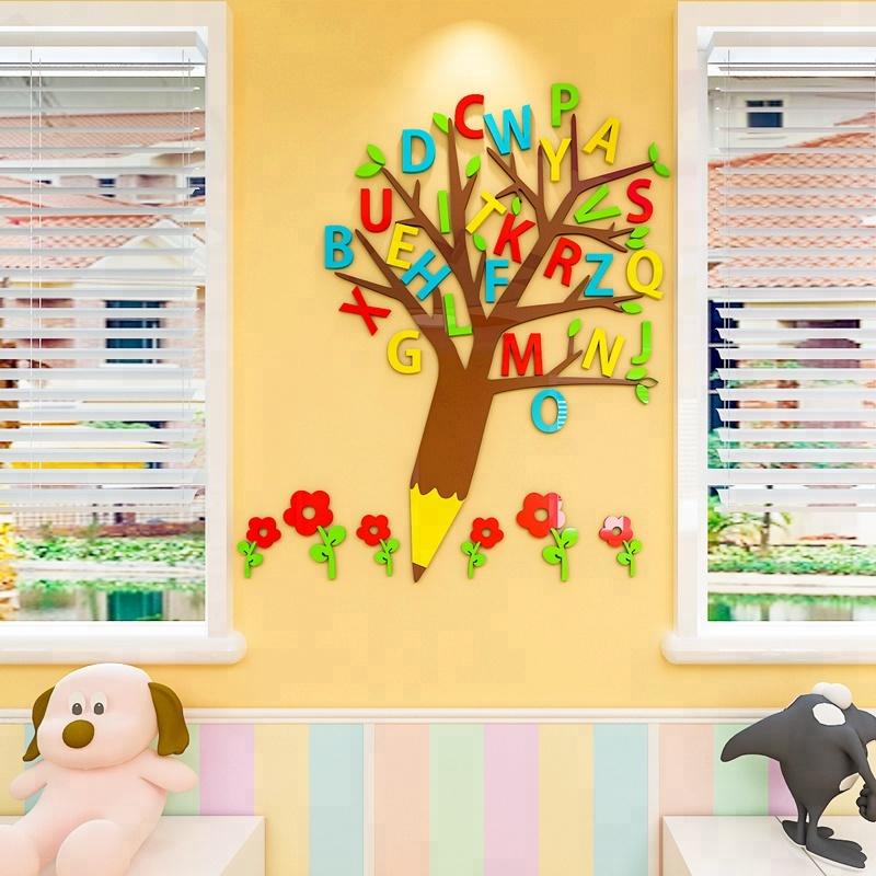 Tree Decor Kids Room Diy Acrylic Alphabet 3d Wall Stickers Buy Mirror Decorative Wall Sticker Acrylic Wall Mirror Stickers Great Wall Sticker