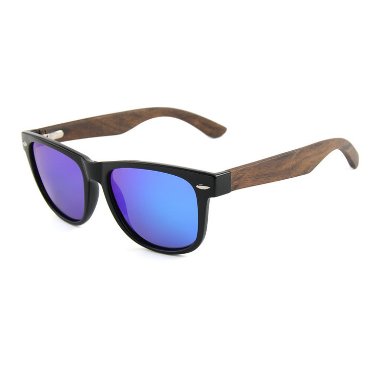 Premium quality wooden sun glasses square purple zabra wood sunglasses