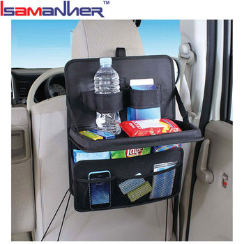 New Car Back Seat Organizer With Tray Durable Folding Food