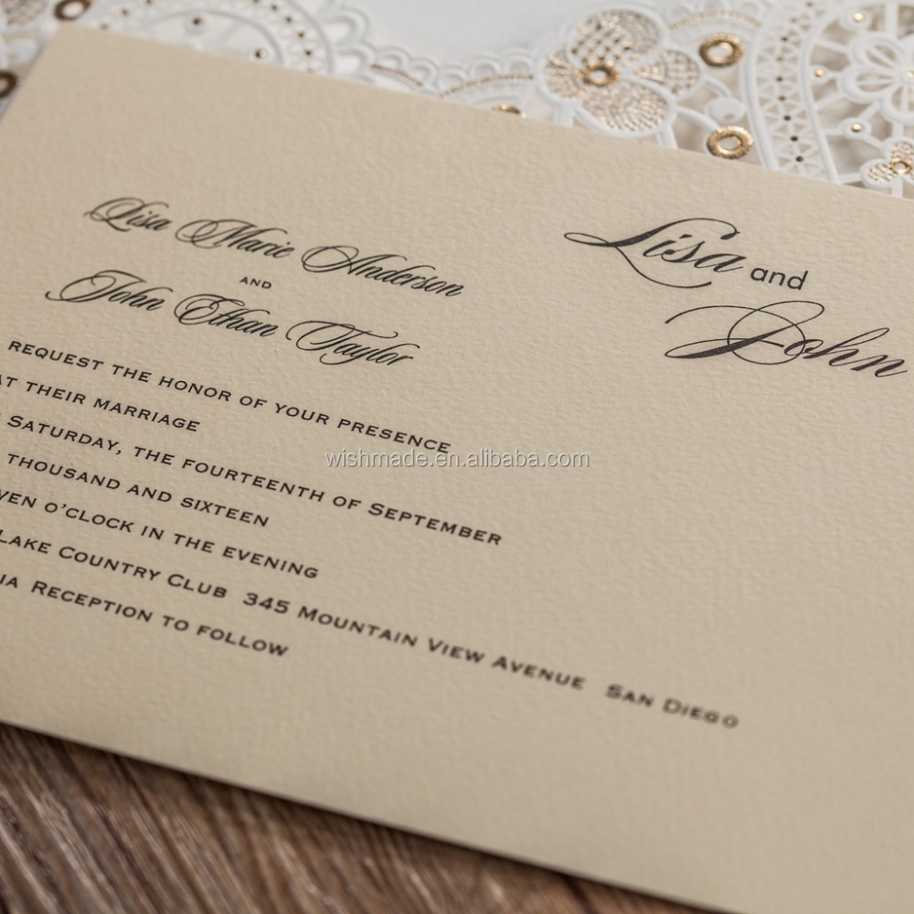 unique design Wedding Invitations Cards Hollow Flora Customizable – Engagement Card Invitations