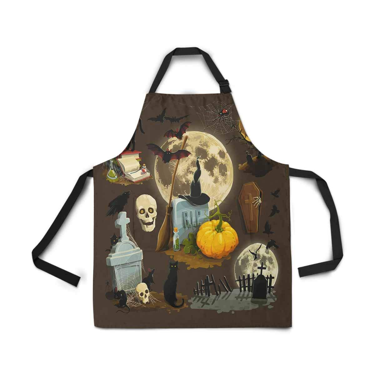 InterestPrint Halloween Celebration Pumpkin Apron Kitchen Cook for Women Men Girls Chef with Pockets, Halloween Holiday Funny Adjustable Bib Baking Paint Cooking Apron Dress