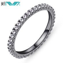 Black Gold Plated CZ Eternity Band 925 Sterling Silver Ring