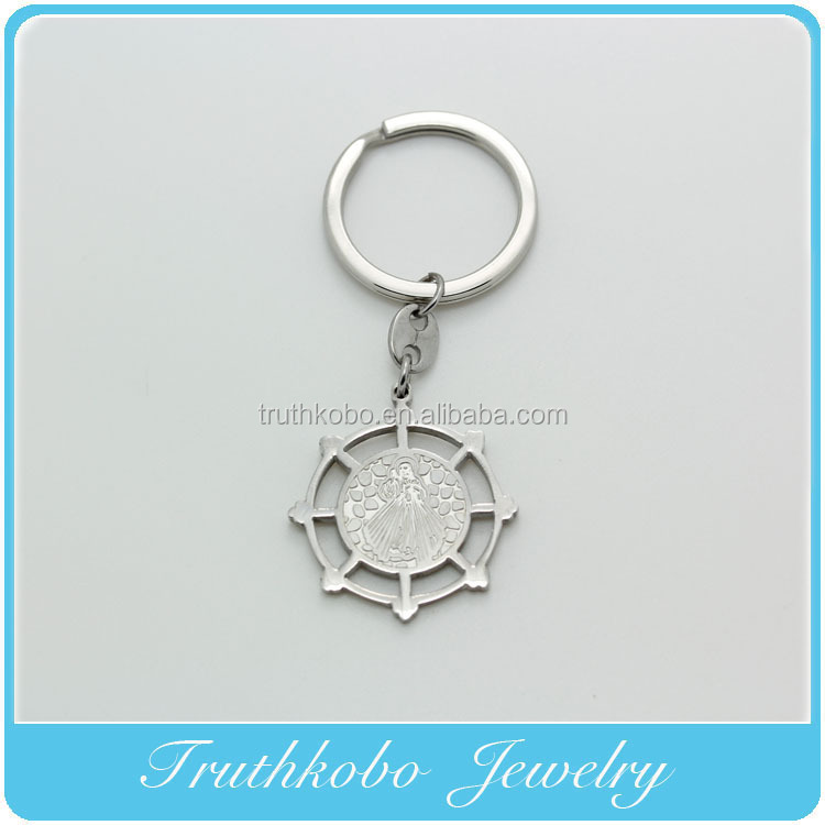 Factory Promotional High Quality Hot sale Fashion Stainless Steel Corrosion Patterns Rosary Father Jesus Medal Keychain