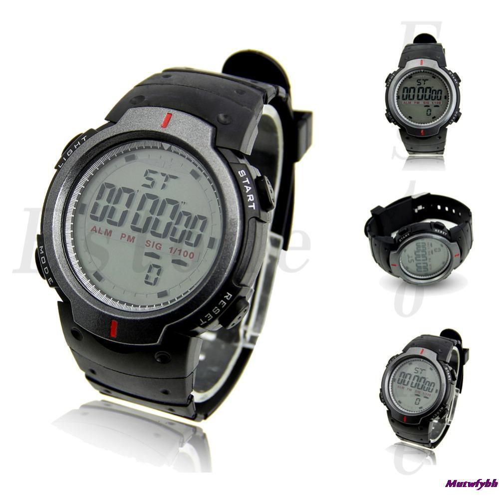 Мода водонепроницаемый мужская жк-цифровой секундомер дата спорт наручные  часы бесплатная доставка 39bfa7078b6