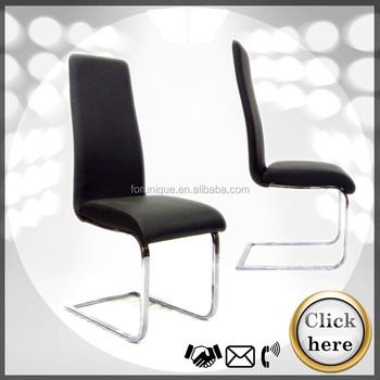 Black Leather S Shape Chrome Leg Dining Chair