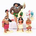 6pcs set Princess Moana Doll Maui Chief Tui Tala Heihei Pua Action Figure Brinquedo Toys For