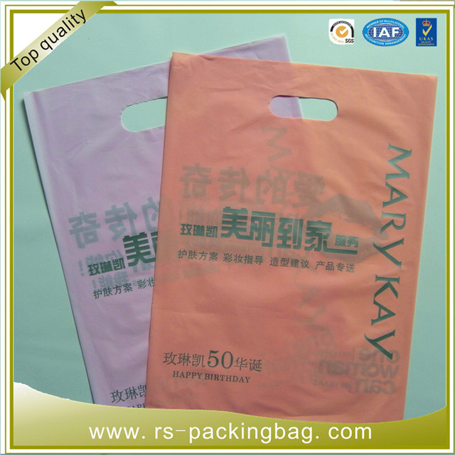 Beautiful printed 3.8mil big size die cut handle shopping poly bags