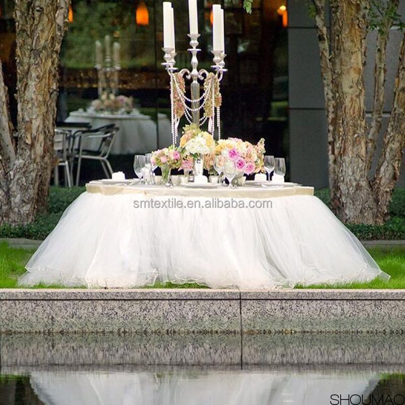 Wholesale 120 Round Luxury Skirt Ruffled Organza Wedding