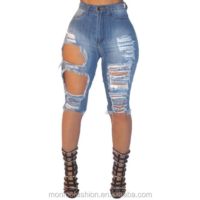 Monroo Sexy lady fashion Shorts Women ripped Denim Shorts holes Jean Shorts For Girl