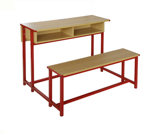 Double School Desk and Bench Student Desk Attached Chairs College Table and Chair