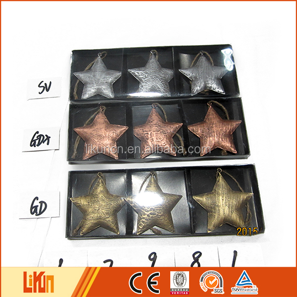 Wholesale Christmas decoration metal star hanging 2016 xmas tree ornaments