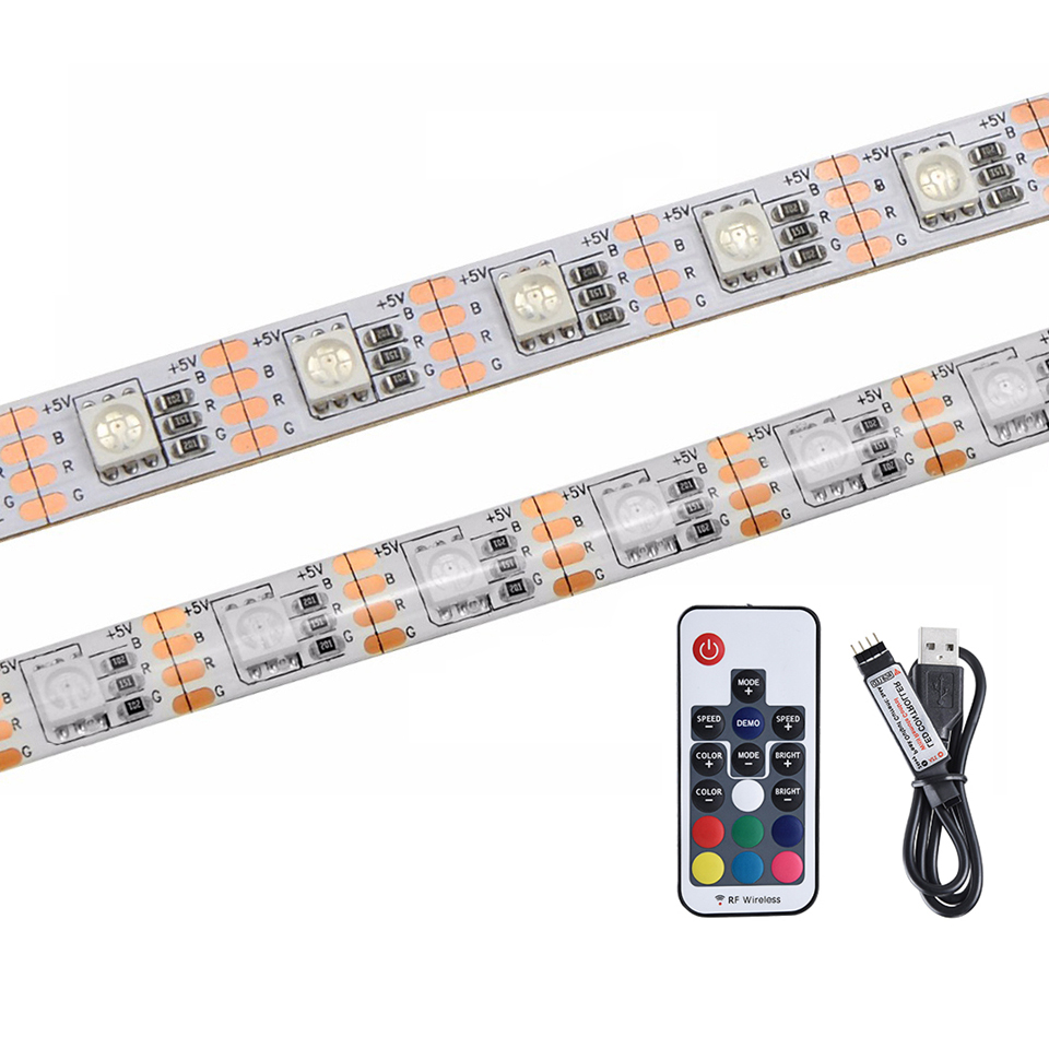 5V SMD5050 <strong>RGB</strong> 60led/m 5m/lot white PCB TV backlight strip with self adhesive backing tape led 5V usb powered led strip light