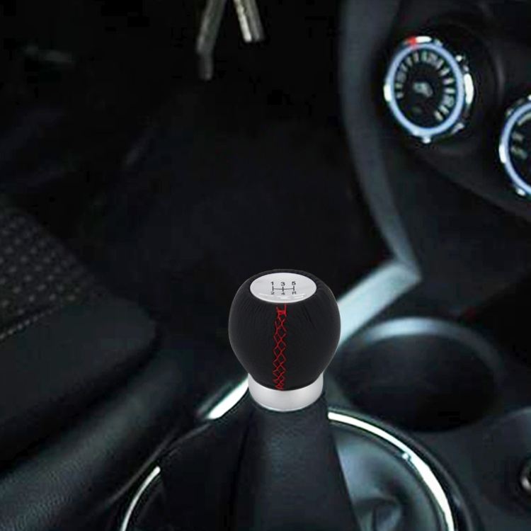 Alta qualidade Universal Car Modificado Shifter Alavanca De Couro Preto Manual 5-Speed ​​Gear Shift Knob Adaptador