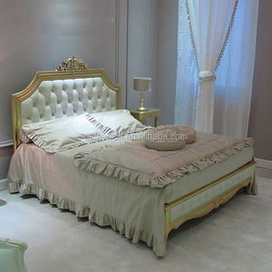 French Style Palace Luxury Fabric double bed size sleeping antique bed