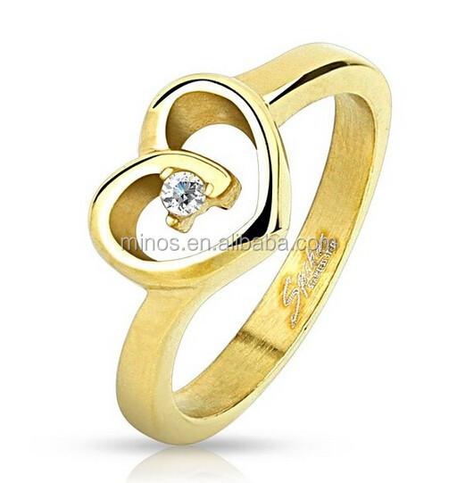 Fake 4 Gram Gold Ring,Open Heart Single Cz Yellow Plated Stainless Steel  Ring - Buy Fake 4 Gram Gold Ring,Casting Cz Stainless Steel Rings,1 Gram  Gold