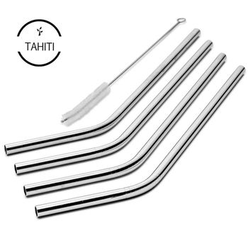 4 Pack Cocostraw 32 oz Tumbler Perfect FIT 18/8 Stainless Steel Drinking Straws With Cleaning Brush