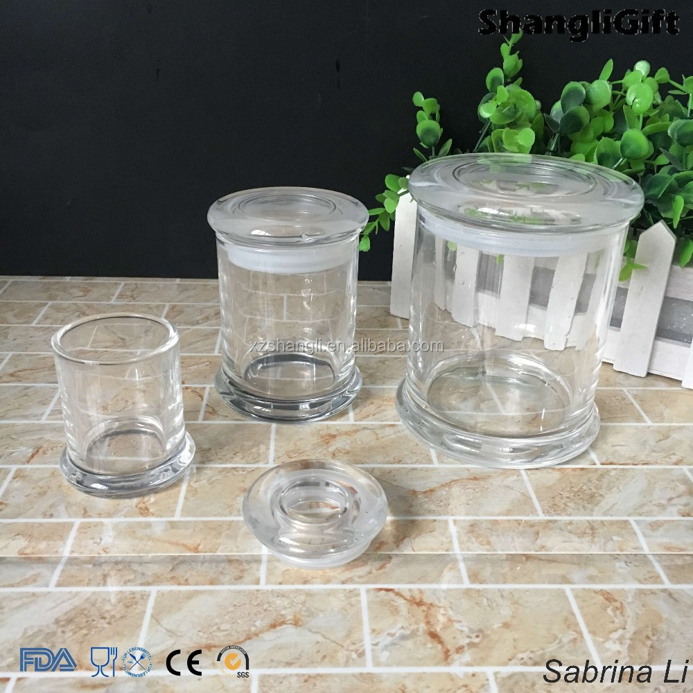 70ml 200ml 450ml round high quality glass jar for candle leaves with glass top