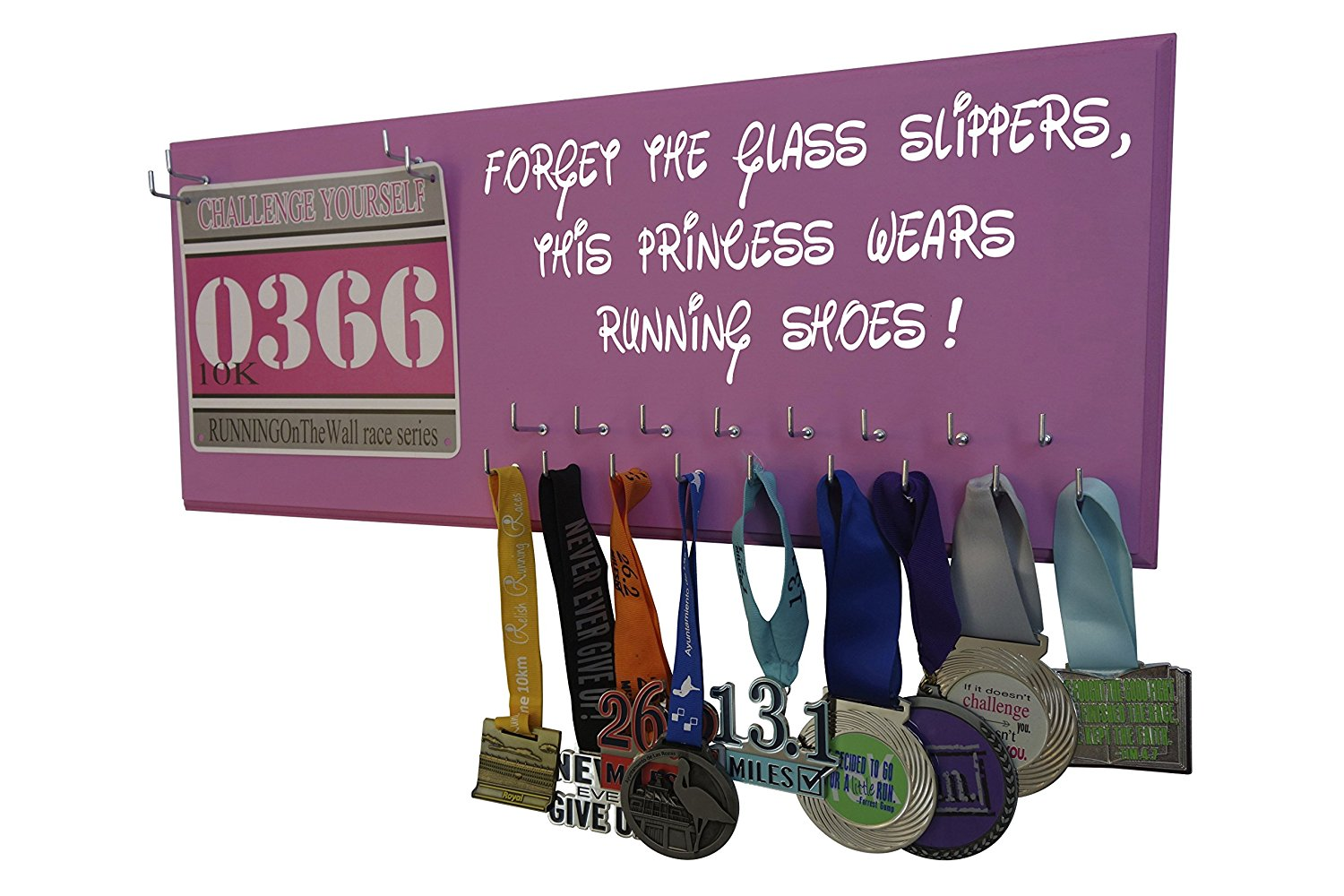 "RunningontheWall - Running medal hanger Disney, ""Forget the glass slipers "" Disney medal display, Medal holders for runners, Medal hangers for runners, Disney medal rack, Disney race medal hanger"