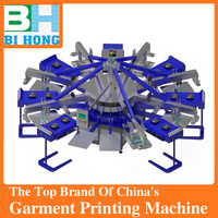 Popular in overseas! Automatic T shirt Printing machine in China,Rotary, silk screen, multicolors