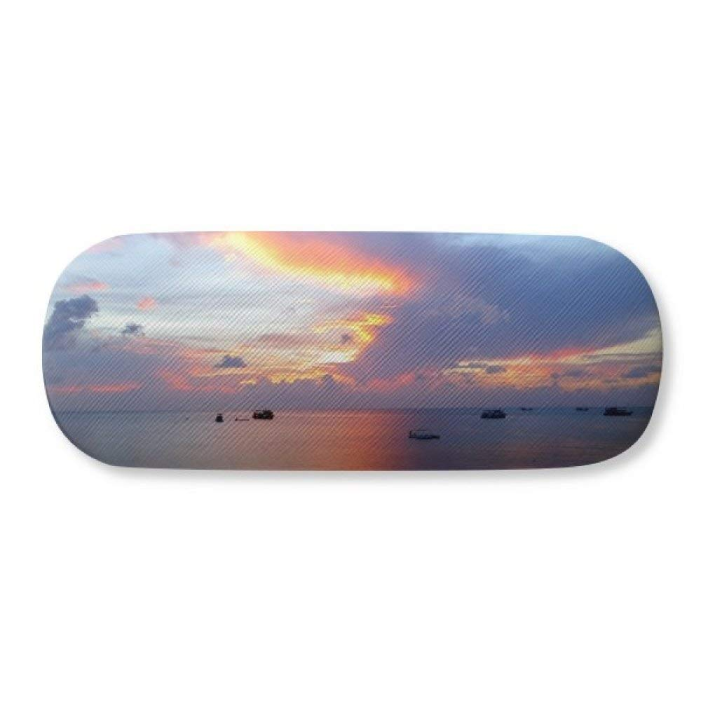 Ocean Sky Water Science Nature Picture Glasses Case Eyeglasses Clam Shell Holder Storage Box