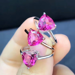 wholesale trendy zircon rose red topaz natural gemstone adjustable engagement wedding ring women 925 sterling silver jewelry